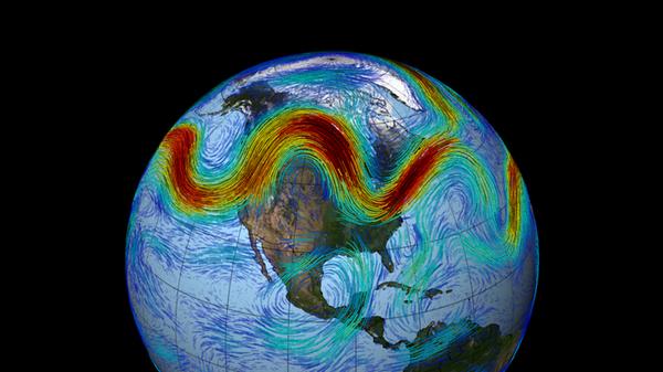 Траектория Североатлантического высотного струйного течения, построенная по данным НАСА