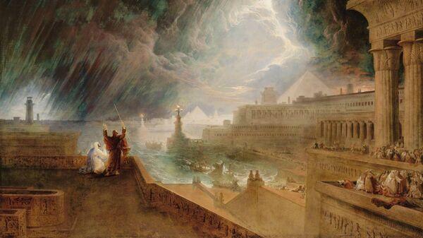 Репродукция картины Джона Мартина Седьмая казнь египетская