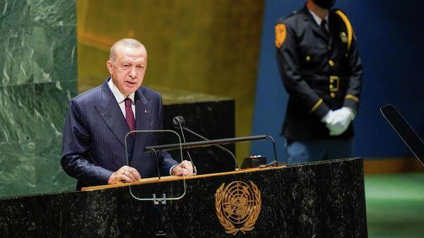 Президент Турции Тайип Эрдоган выступает на сессии Генеральной Ассамблеи ООН в Нью-Йорке