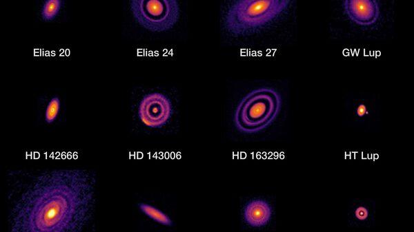 20 изображений протопланетных дисков, полученные комплексом радиотелескопов ALMA в 2018 году