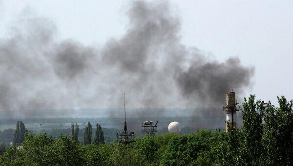 Дым в окрестностях международного аэропорта Донецка