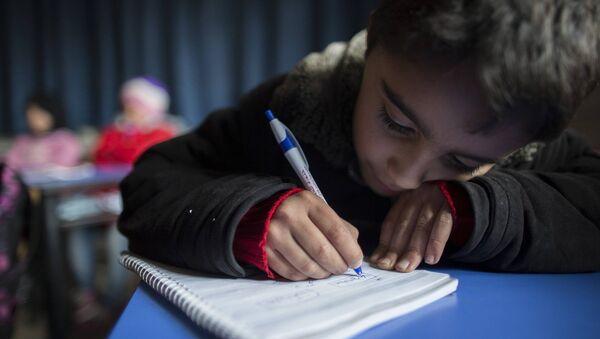 Мальчик на уроке в сирийской школе. Архивное фото