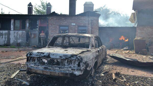 Последствия обстрела украинскими военными города Славянска