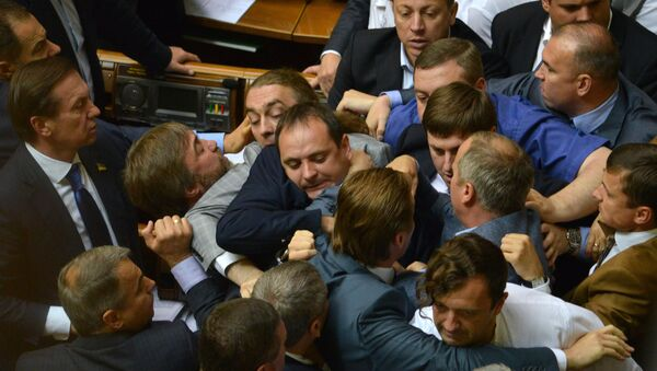 Депутаты Верховной Рады на заседании украинского парламента. Архивное фото