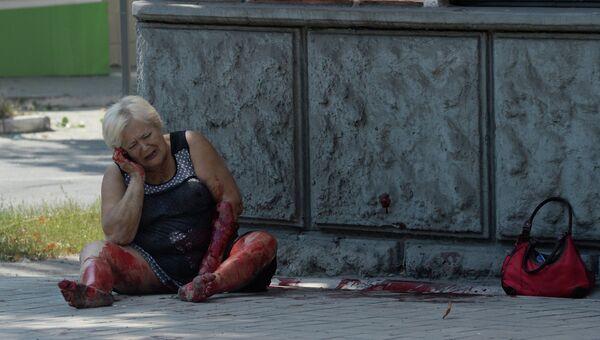 Жительница Донецка, пострадавшая во время обстрела