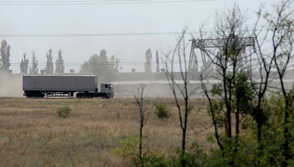 КамАЗ с гуманитарной помощью из РФ недалеко от границы с Украиной. Архивное фото