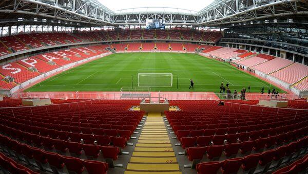 Вид на поле и зрительские трибуны стадиона Открытие Арена.