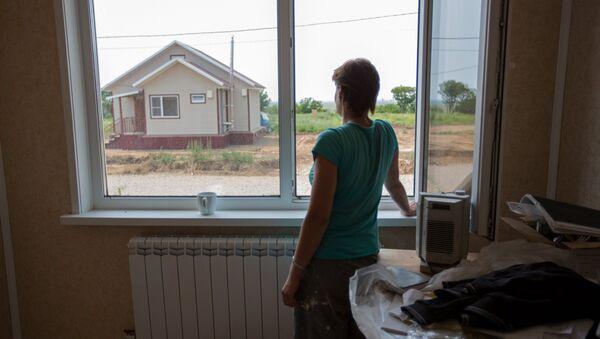 Cтроительство домов для пострадавших от паводка в Амурской области. Архивное фото