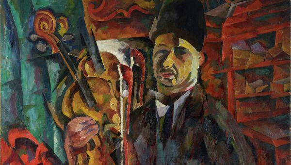А.Лентулов. Автопортрет со скрипкой.Конец 1910-х- начало 1920-х