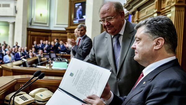 Петр Порошенко на заседании Верховной Рады Украины в Киеве. Архивное фото