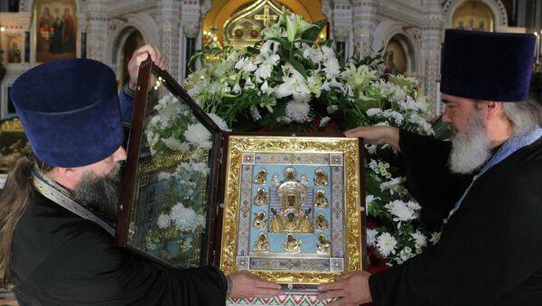 Главная святыня русского зарубежья - Курская Коренная икона Божией Матери Знамение, архивное фото