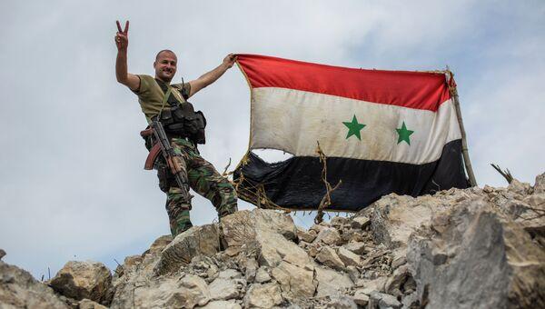 Военнослужащий правительственной армии Сирии с флагом страны на позиции войск