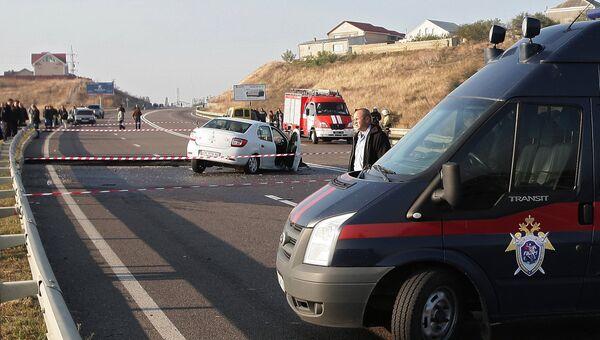 Обвал грунта на участке автотрассы в Крыму
