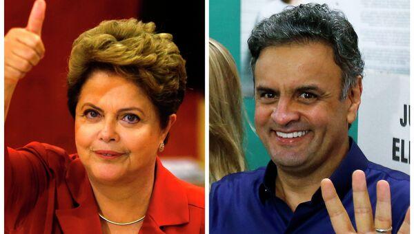 Кандидаты в президенты Бразилии Дилма Руссефф и Аэсиу Невис