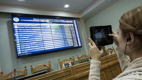 Табло с промежуточными итогами парламентских выборов в здании Центральной избирательной комиссии в Киеве. Архивное фото