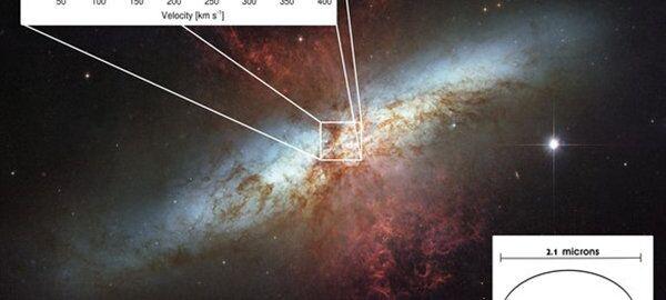 Спектральная линия углерода в галактике M82