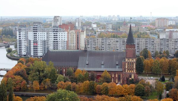 Вид на Кафедральный Собор на острове Канта в городе Калининграде. Архивное фото