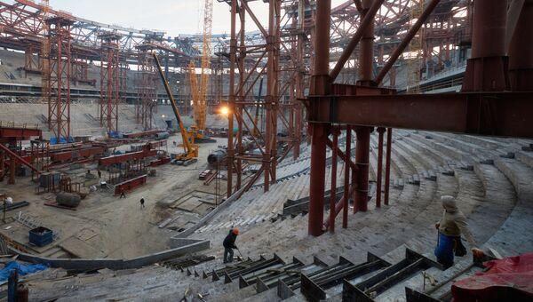 Строительство стадиона, архивное фото