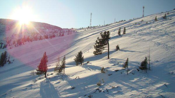 Вид на трассу горнолыжного комплекса Гладенькая в Хакасии