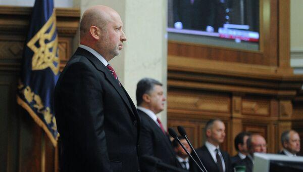 Председатель Верховной Рады Украины Александр Турчинов (на первом плане). Архивное фото