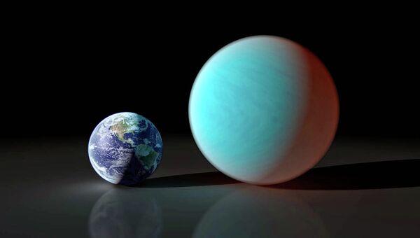 Художественное изображение Земли и экзопланеты 55 Рака e