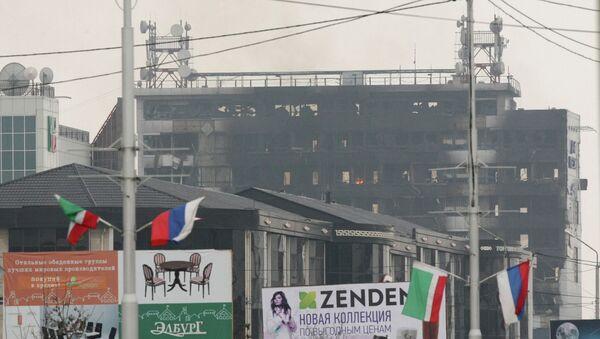 Вид на здание Дома печати, где проходила спецоперация МВД Чеченской Республики. Архивное фото