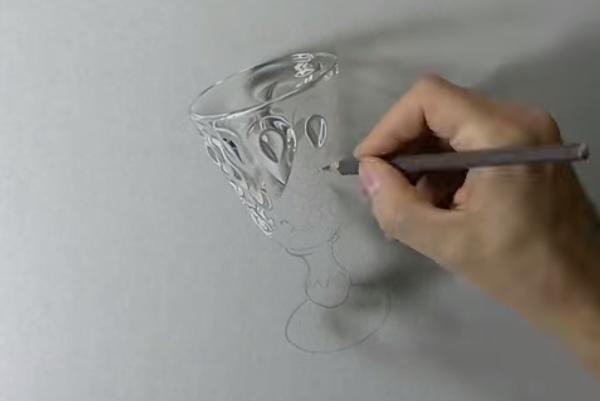 Как с помощью карандашей и ручек нарисовать объемный бокал