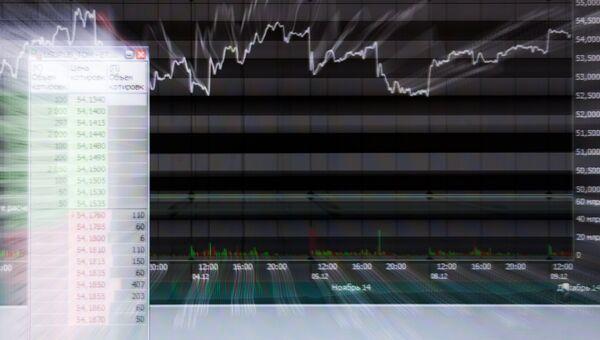 Экран в офисе московской биржи ММВБ-РТС