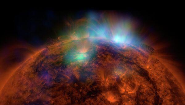 Снимок Солнца, сделанный с помощью ядерного спектроскопического телескопа НАСА Array