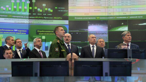 Главы государств–членов ОДКБ в Национальном центре управления обороной РФ