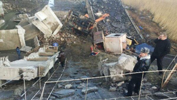 Обрушение конструкции старого моста через реку Преголя на территории городского округа Город Калининград