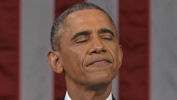 Президент США Барак Обама во время выступления с обращением О положении страны в Конргессе США. Архивное фото