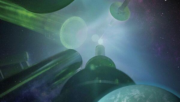 Так художник представил себе реальные экзопланеты в компании фрагментов их искусственных пород в лаборатории