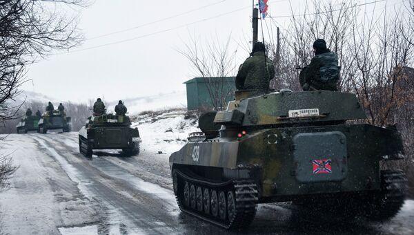 Ополченцы Донецкой народной республики движутся в сторону Славянска. 21 января 2015. Архивное фото