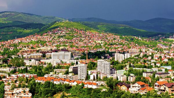 Вид города Сараево, Босния и Герцеговина. Архивное фото
