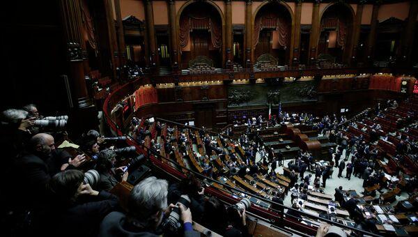 Законодатели во время голосования по выборам нового президента Италии в Риме
