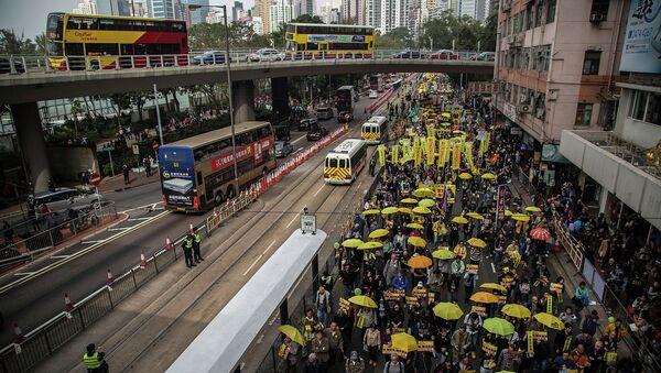 Марш Фронта гражданских прав человека в Гонконге. 1 февраля 2015