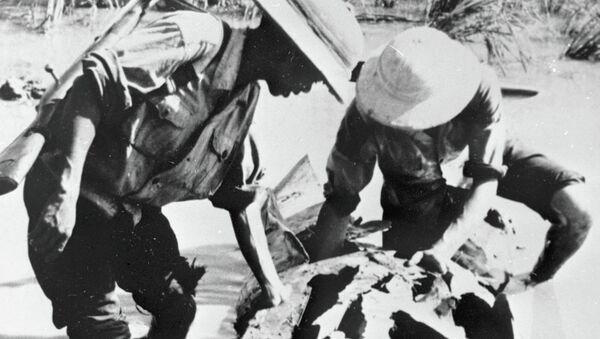 Бойцы вьетнамской Народной армии рассматривают обломки сбитого американского самолёта