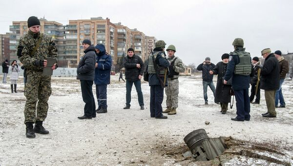 Остатки снаряда, упавшего на Краматорск. 10 февраля 2015.