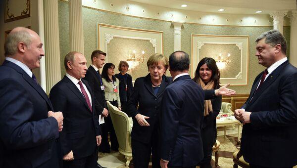Главы государств во время встречи во Дворце независимости в Минске