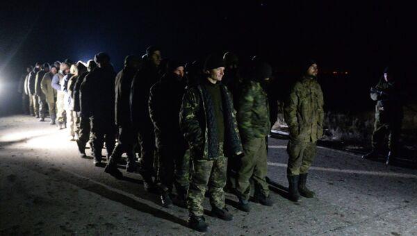 Обмен пленными между ополченцами ДНР, ЛНР и украинскими силовиками