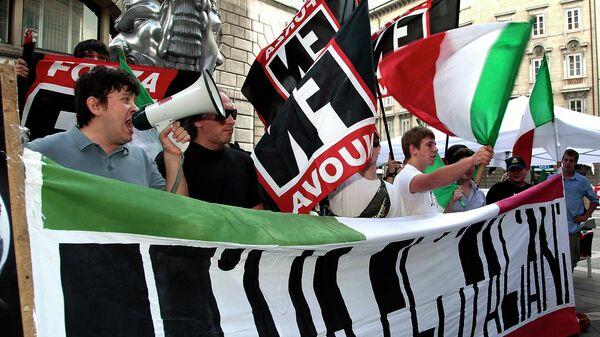Активисты итальянской партии Forza Nuova (Новая сила)