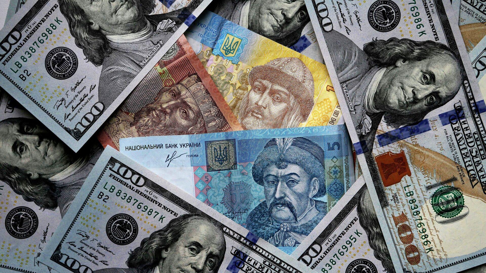 Денежные купюры США и Украины - РИА Новости, 1920, 02.08.2020