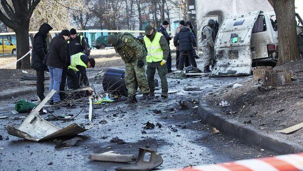 Взрыв автомобиля командира батальона патрульной службы милиции Слобожанщина в Харькове