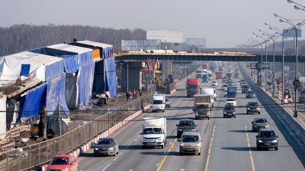 Реконструируемая транспортная развязка на пересечении МКАД и Каширского шоссе в Москве