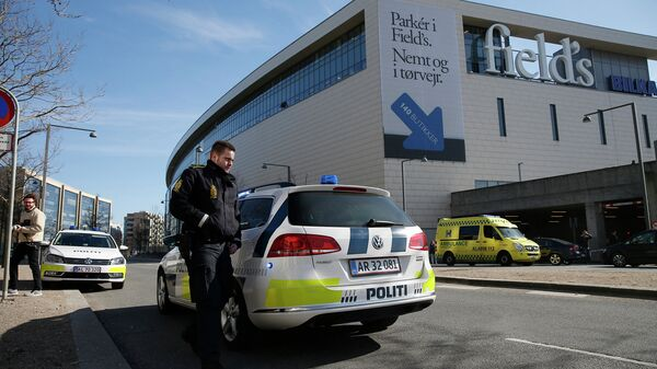 Полиция у здания торгового центра, где произошла перестрелка. Копенгаген, 18 марта 2015 год