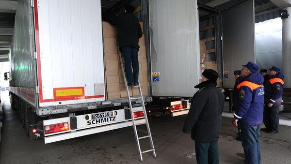 Очередная колонна МЧС России с гуманитарной помощью для жителей Донбасса прибыла на КПП Матвеев Курган
