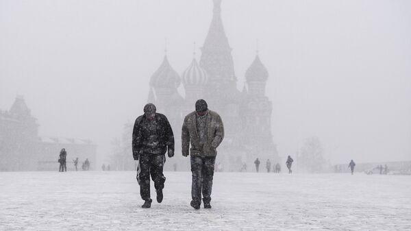 Жители столицы на Красной площади во время снегопада в Москве