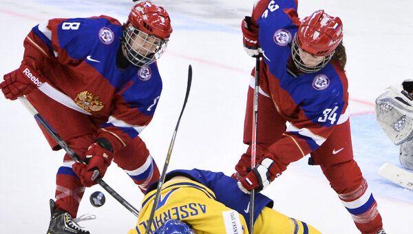 Хоккеистки сборной России нанесли поражение команде Швеции в четвертьфинале чемпионата мира, который проходит в шведском Мальме