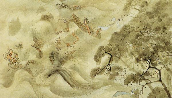 Картина японского художника Кикуси Йосаи, посвященная священному ветру - камикадзе